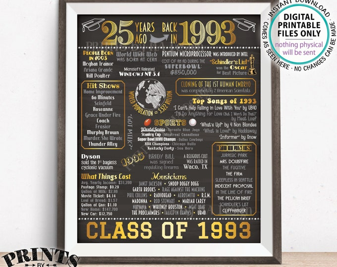 "Class of 1993 Reunion 25 Year Reunion Back in 1993 Flashback to 1993 25 Years Ago, Gold, PRINTABLE 8x10/16x20"" Chalkboard Style Sign <ID>"