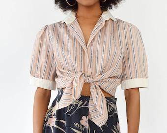 Vintage Womens Button Down Pinstripe Blouse Peter Pan Collar Blue Pink Short Sleeve White Trim Shirt Top 1980s Size Medium