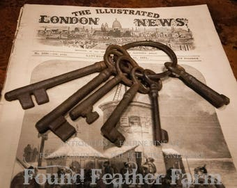 Vintage Set of Five Rusted Jailers Keys on RIng