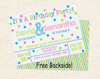 Siblings Joint Birthday Party Brother Sister Party Printable Invitations in Blue Green and Pink /01b