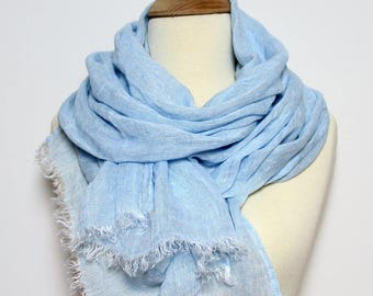 Blue 100% Linen Scarf/ Natural Men's Scarf/ Women's Scarf Linen/ Large Long Sky Blue Flax Scarves/ Light Blue Shawl/ Boyfriend Gift for Him