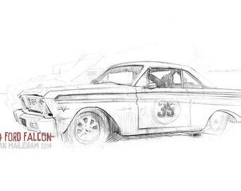 1964 Ford Falcon - Original A4 Pencil Sketch