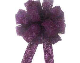 Purple Bow, Christmas Bow, Wreath Bow