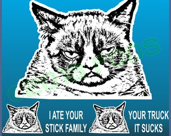 Grumpy Cat Decal Sticker With Optional Funny Sayings Apply to Any Smooth Surface