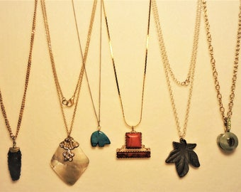6 Vintage Genuine Gemstone Pendant Necklaces