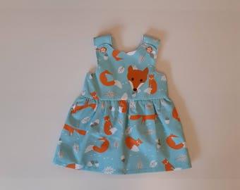 Handmade Fox Crossover Pinafore Dress
