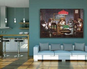 Dogs playing poker printable artwork poster recreated by an AI