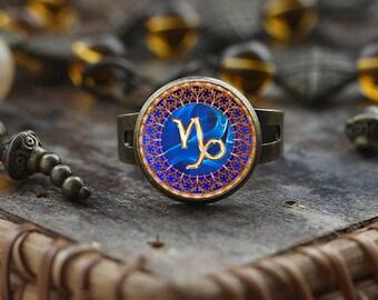 Capricorn Zodiac ring, Capricorn ring, Capricorn Zodiac Jewelry, Capricorn constellation ring, Zodiac Sign ring