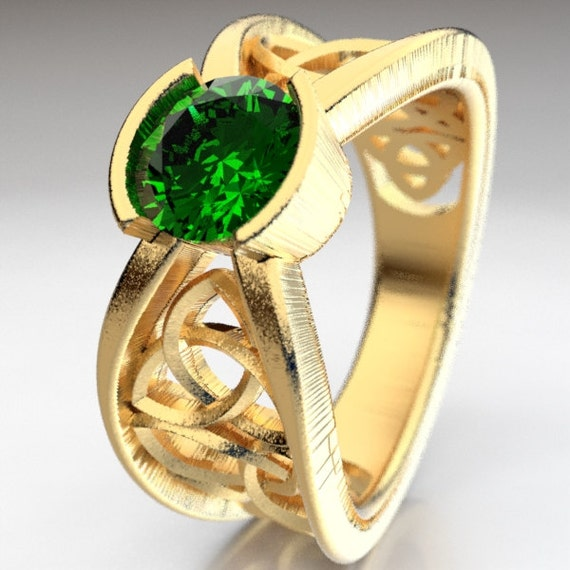 Gold Engagement Ring Celtic Design With Emerald and Trinity Knot in 10K 14K 18K Gold, Palladium, Platinum, Made in Your Size Cr-1026