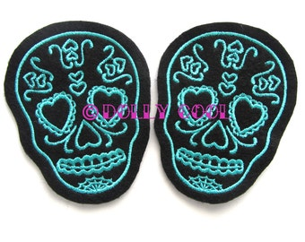 Sugar Skull patch Pair of Turquoise (more and custom colors available) by Dolly Cool