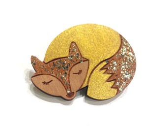 Wooden Fox brooch, paint and glitter