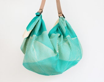Free Shipping Worldwide / Folded paper furoshiki bag (emerald green) & tan leather carry strap set