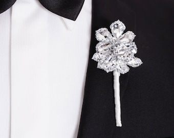 Prom Boutonniere, Wedding Boutonniere - Three Flower Ranier Boutonniere - Buttonhole, Silver Boutonniere, Crystal Flowers, Prom Boutonnieres