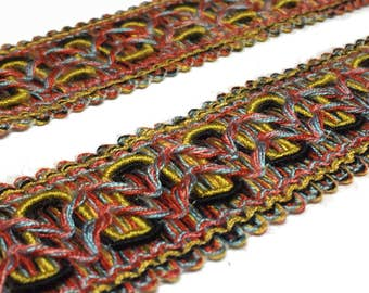 Multi Colored Flat Trim - Multicolored Wide Gimp - Bright Designer Trim - Boho Tribal Trim - pillow and Craft Trim - 1 yard