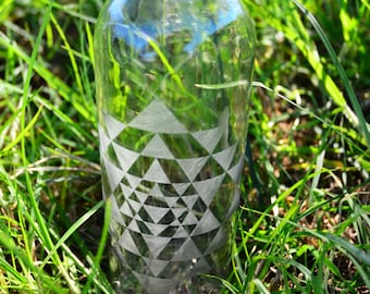 Sri Yantra Etched Glass Bottle 16 oz. : Sacred Geometry, Enhance the Water, Raise the Vibration, Energy, Frequency, Love, Life, Abundance