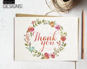 Floral Thank You Card Printable, Thank You Card, Rustic Thank You Card, Instant Download Thank You Card, Watercolor Thank You Card