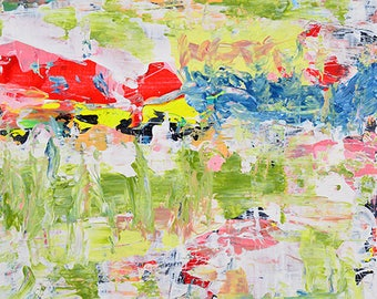 Green & Red Abstract Painting. Palette Knife Acrylic Abstract Painting. Bold Bright Colors. Affordable Home Decor