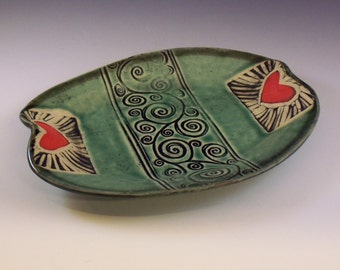 Tray,Heart Plate, Stoneware Heart Tray, Serving Dish, Soap Dish, Heart Dish,Green Plate,Red Hearts, Red Heart Tray, Spiral Plate,Love