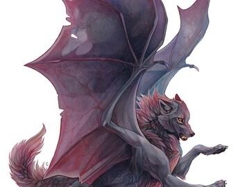 A4 Art Print - Dark wolf