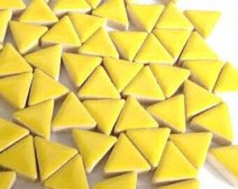 Triangle Ceramic Mosaic Tiles - Citrus Yellow - 50g