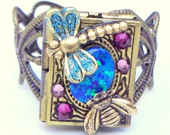Dragonfly Locket Ring,Mystical Garden,Genuine Blue Australian Opal,Honey Bee,Swarovski Crystal, Photo Jewelry, Photo Ring, OOAK