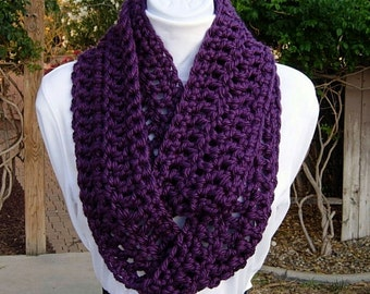 INFINITY SCARF Loop Cowl, Vibrant Solid Dark Purple, Extra Soft Thick Chunky Acrylic, Crochet Knit Winter Circle..Ready to Ship in 2 Days