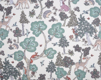 SS18 Liberty fabric  Tana Lawn Doe A Deer 9x26'' fat eighth -  green - NEW The Alpine Symphony Collection