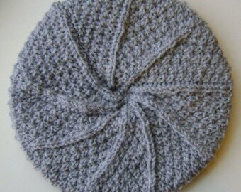 Ladies Aran Wool Hat in Light Grey
