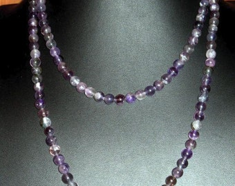 Amethyst Round Bead Strand Necklace