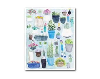 Potted Plants & Succulents Print of Watercolor Painting