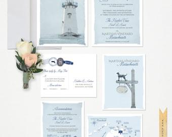 Martha's Vineyard Destination illustrated wedding invitation  Massachusetts invitation coastal lighthouse sketch blue Deposit Payment