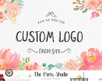 Custom Logo Design Watercolor Flower Logo Photography Logo Restaurant Logo Branding Florist Business Website Logo Blog Floral Logo Design