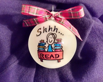 Librarian gift,Librarian, Hand painted Personalized ornament, Librarian Christmas gift,library gift, gift for librarian, gift,christmas gift