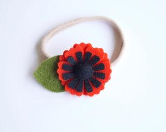 Summer Poppy Felt Floral Headband / Alligator Clip / Nylon Headband / Red Anemone // Flower Crown // Summer