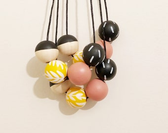 Handpainted Wooden Bead necklace | Yellow fern  | READY TO SHIP