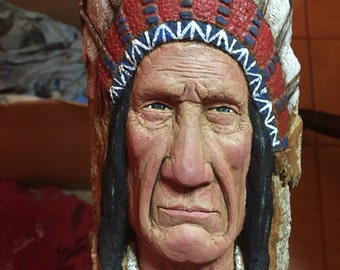 RESERVED for Steve, Wood Carving, Native American, Indian Sculpture, Hand Carved, Wood Gift, Wood Spirit, Fine Art, Wall Art, Handmade