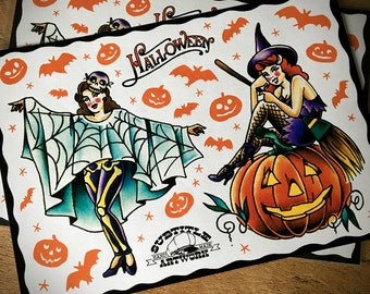 Trick or Treat - Witches of Halloween traditional tattoo flash sheet, retro, vintage, pinup, pumpkin, bat, horror, limited edition, kustom