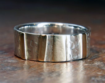 """6mm """"Woodland"""" ring. Recycled sterling silver & 9ct or 18ct gold. Hand made in the UK."""