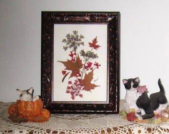 Think fall! 5x7 frame of pressed flowers and leaves