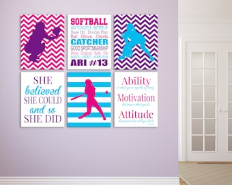Softball Wall Decor for Girls Room, Softball Player Gift, Personalized Softball Prints