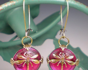 Dragonfly Earrings Raspberry Pink Czech Glass Buttons Oxidized Brass Dragon Fly Jewelry