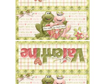 Digital Printable Valentine Bag Topper- Toad - Frog - Treat Bag Topper