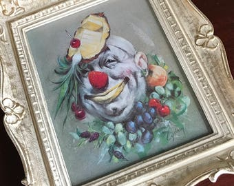 Clown Framed Print by Artist Cydney Gossman, The Fruit Clown Signed Cydney in Original Vintage Frame, Circus Clown Art, Circus Collectible
