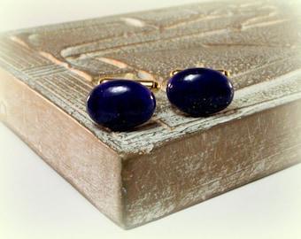 Midnight Sea - Lapis Lazuli Cufflinks - Deep Blue Lapis Lazuli Oval Cufflinks - Blue Cufflinks