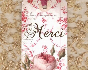 Merci Tags , Pink Rose Tags , French Tags