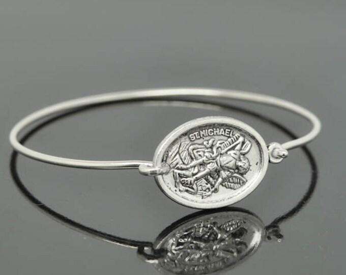 St Michael Bangle, St Michael Jewelry, St Michael Bracelet, Sterling Silver Bangle, Christian Jewelry, Catholic Jewelry