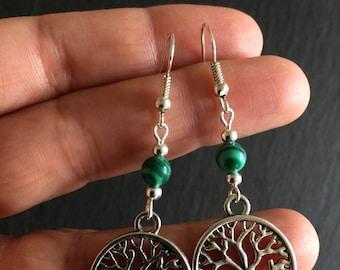 Tree of Life Earrings, Malachite Jewellery,  Earrings, Boho, Bohemian, Gypsy, Hypoallergenic