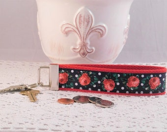 Keychain Wristlet Made With Black And White Polka Dot And Rose Print Ribbon