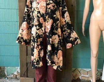 Vintage 90's Silky Thin Velvet Burnout Floral Print Kimono size 2XL by Midnight Velvet