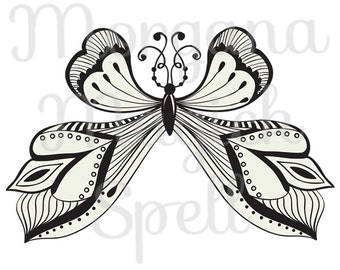 BUTTERFLY STAMP Tatoo  Royalty Free Clip Art Illustration  Digital Image Download Printable Graphic  Transfers Prints HQ 300dpi jpg png